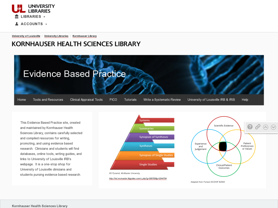 Screenshot of EBP webpage